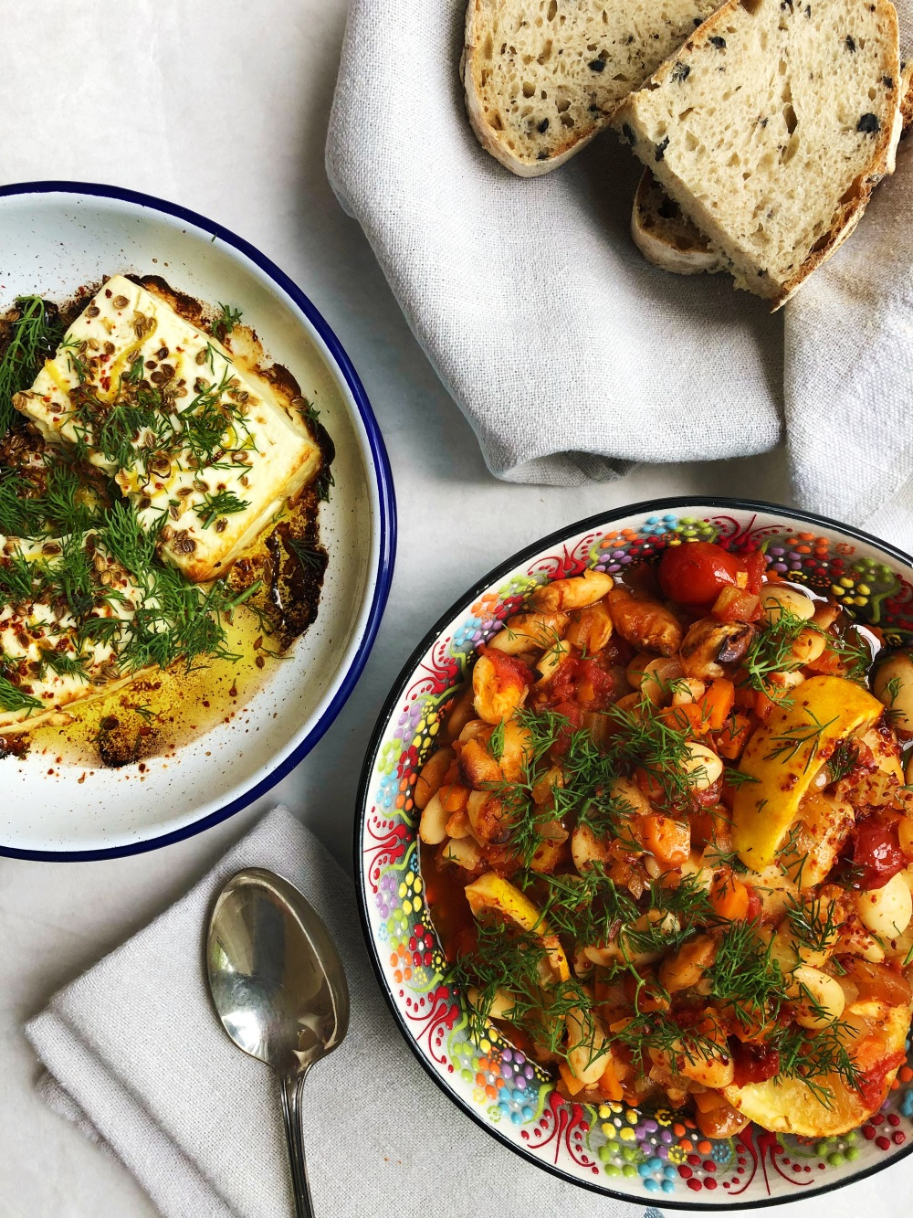 Greek Beans with Baked Feta